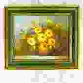 Vintage Framed Floral Painting - Horizontal