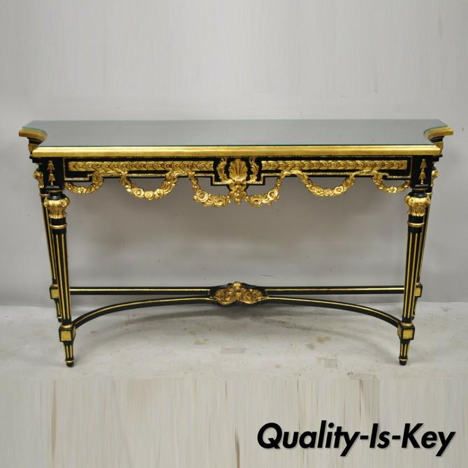 Labarge French Louis XVI Italian Black Lacquer Gold Gilt Jansen Console Table
