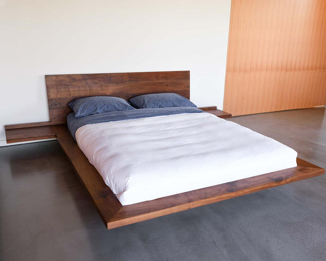 King Platform Float Bed, Simple Platform, Minimal, Queen bed, Walnut Bed, Easy Assembly by ThisIsUrbanMade