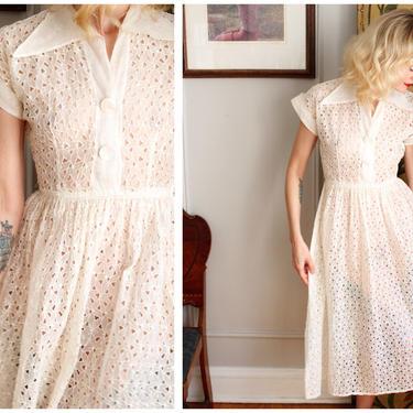 1940s Dress // Eyelet White Organdy Dress // vintage 40s Dress by dethrosevintage