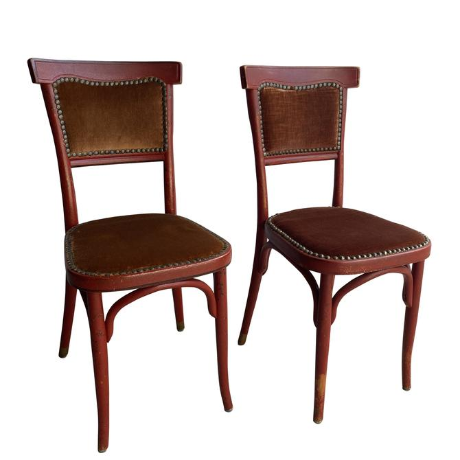 Pair of Red Thonet Style Side Chairs
