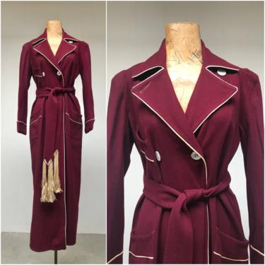 1930s 1940s Vintage Womens Wool Flannel Robe, Maroon Peaked Collar Dressing Gown, Fall-Winter Double Breasted Royal Robe, Small to Medium by RanchQueenVintage