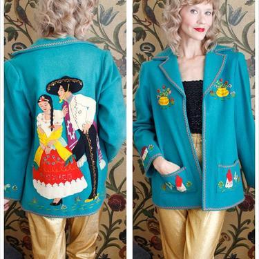 1940s Jacket // Berty Wool Mexican Tourist Souvenir Jacket // vintage 40s jacket by dethrosevintage