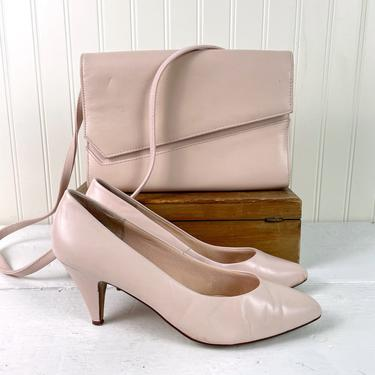 1980s shell pink pumps and matching purse - size 9M by NextStageVintage