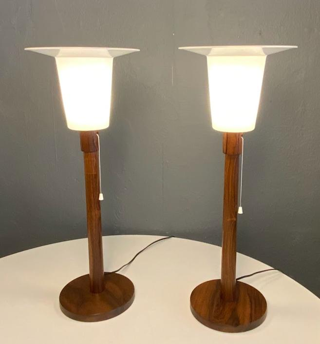 Swedish Modern Rosewood Table Lamps by Uno & Östen Kristiansson, 1960s, Set of 2