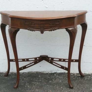 Walnut Carved Queen Anne Feet Console Table 2376
