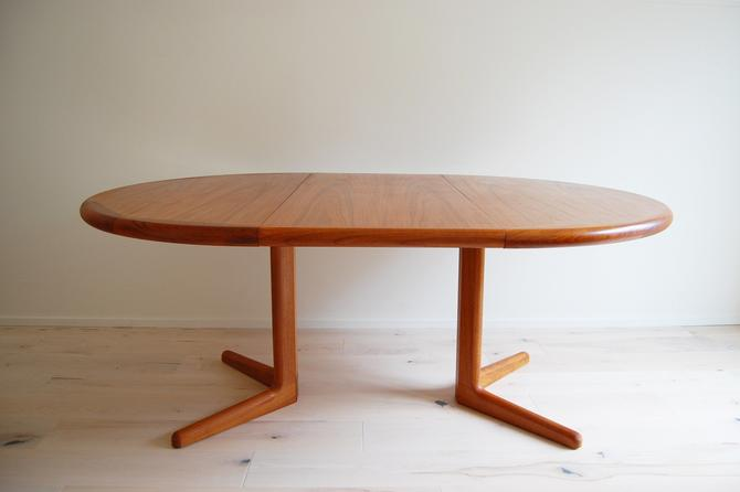 Danish Modern Laurits M Larsen Mobelfabrik A/S Teak Round Dining Table with Extension Made in Denmark by MidCentury55