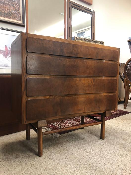 Oak Wood Mid Century Style Dresser with Burl Wood Drawer Front by BigWhaleConsignment
