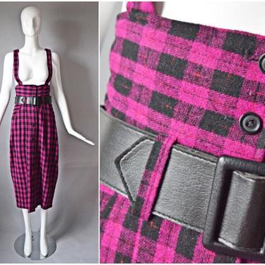 vtg 90s B'ways Jrs pink + black plaid tartan trim pencil jumper dress   long skirt overalls pockets holiday 1990s button down pattern dress by PinkhamRoadRetro