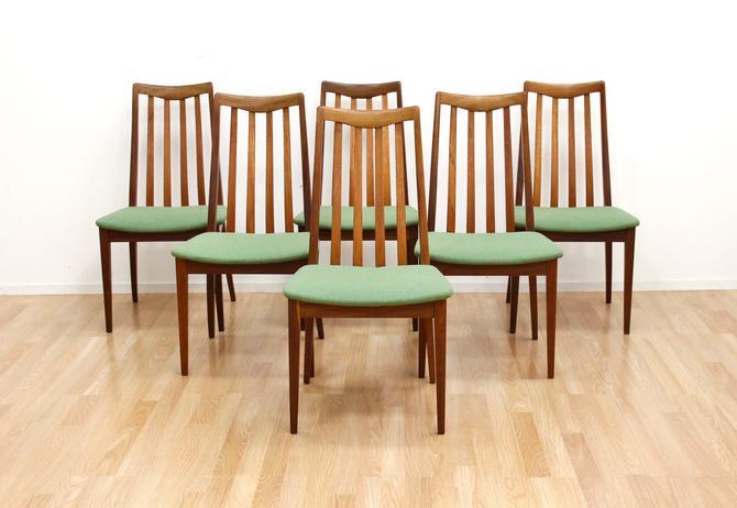 Set of Six Mid Century Dining Chairs by G Plan in Teak & Green by SputnikFurnitureLLC
