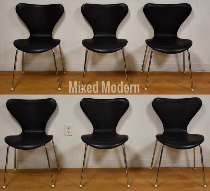 Black Leather and Chrome Dining Chairs - Set of 6 by mixedmodern1
