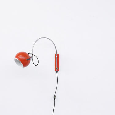 Adjustable Red Globe Wall Lamp with Arc