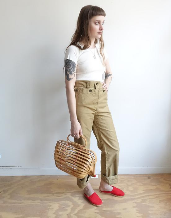 Vintage 50s Khaki Sailor Trousers/ 1950s Button Front Wide Leg Pants/High Waisted Crop Leg/ Size 30 by bottleofbread