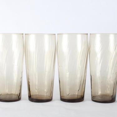 Vintage Brown Tumbler Glassware, Mid Century Glassware, Smoked Glass, Smoked Glassware, Vintage Libbey, Mid Century, Brown, Whiskey,Set of 4 by 1882BlueVintage
