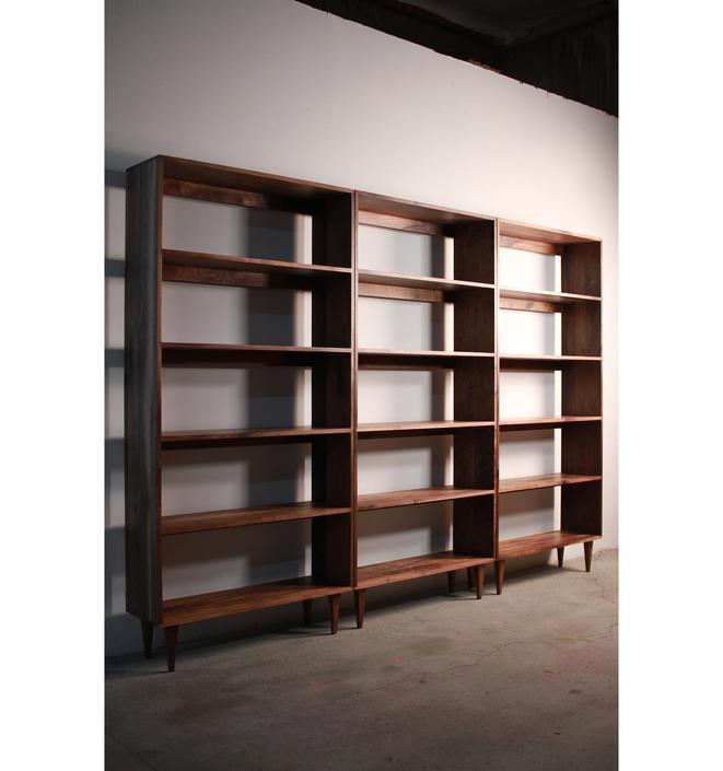 Rascoff Bookcase, Mid-Century Bookshelf, Hardwood Modern Bookcase, Mid Century Bookcase Wall Unit (Shown in Walnut) by TomfooleryWood