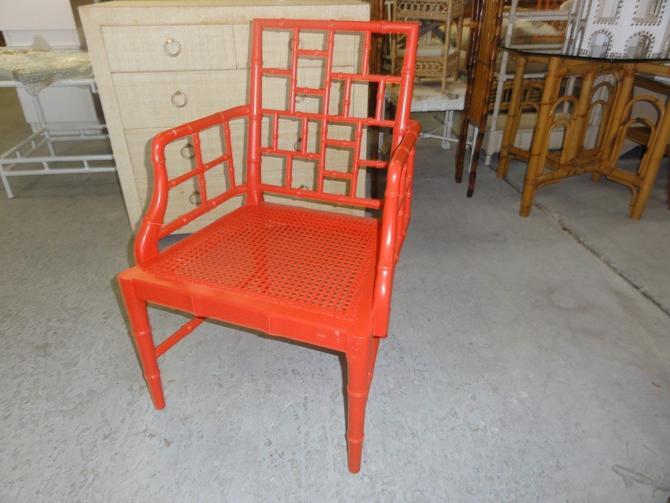 Orange Fretwork Faux Bamboo Chair