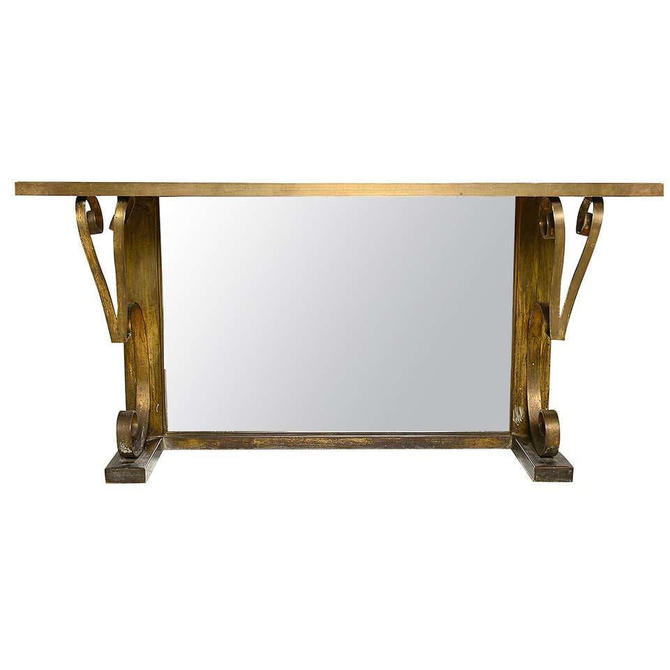 Mexican Modern Regency Arturo PANI Bronze Eglomise Console Table, 1940s by AMBIANIC