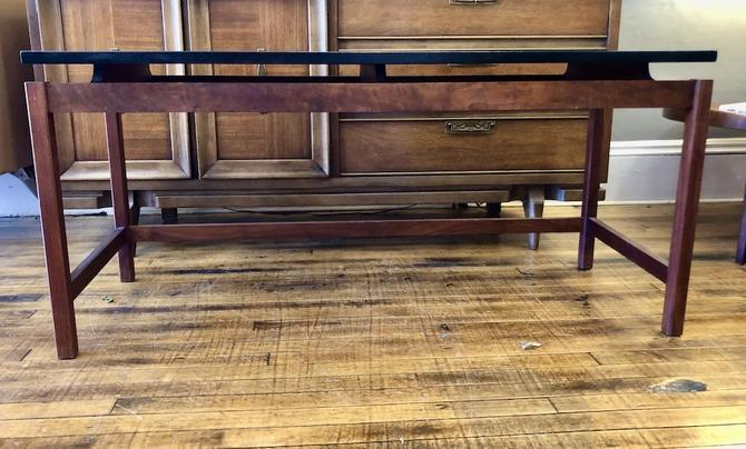 Vintage JENS RISOM console Table in Walnut & Black Lacquer