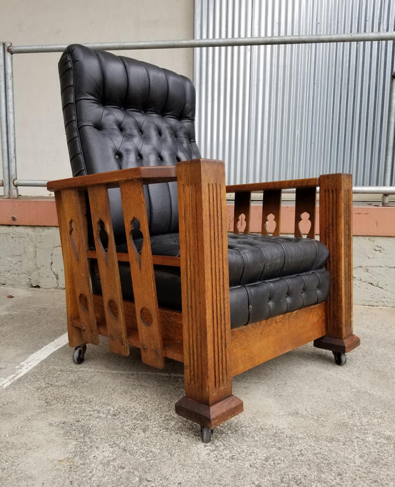 Mission Oak Morris Style Reclining Lounge Chair C. 1915 by JanakosAndCompany