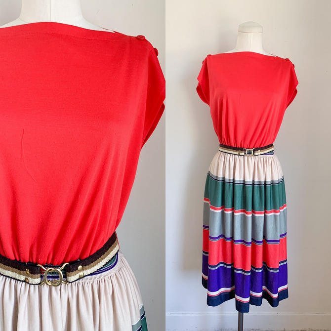 Vintage 1970s Red Striped Day Dress / M by MsTips