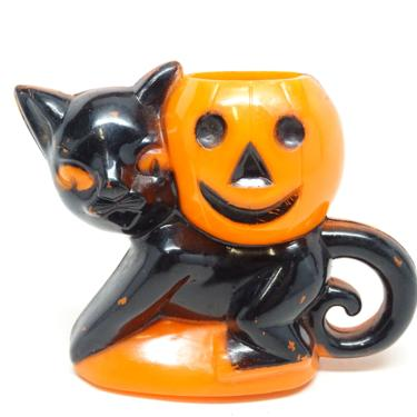 Vintage 1940's Halloween Candy Container, Rosbro Black Cat Holding a Jack-o-lantern by exploremag
