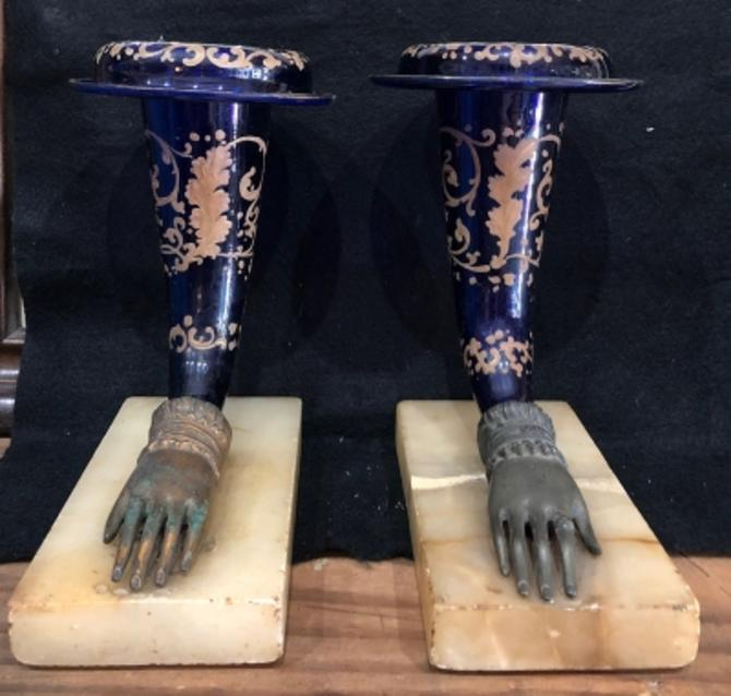 Circa 1890s Silver Overlay Blue Glass Cornucopias with Cast Hands on Alabaster BaseMantel