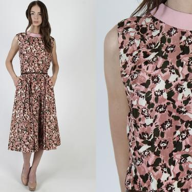 50s Pink Floral Print Dress / 1950s Colorful Day to Evening Dress / Garden Party Full Skirt Maxi Dress With Hip Pockets by americanarchive