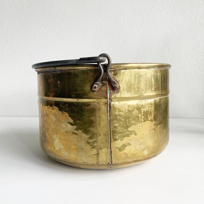 Vintage Hammered Brass Bucket