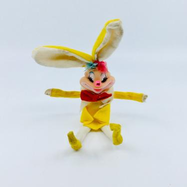 Vintage Easter Knee Hugger Clown Easter Bunny Yellow Retro Kitsch Easter Decorations by AuntyEntitysVintage