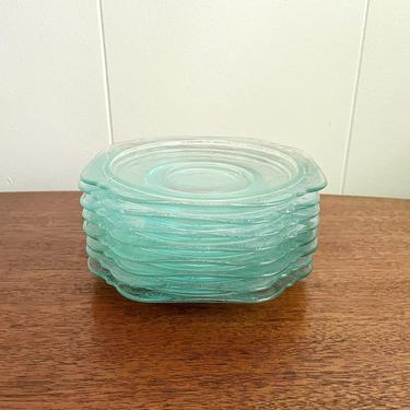 Vintage Hazel Atlas Madrid Depression Glass Aqua Blue Floral Saucer, Clear Blue with Floral Design, Replacement by BlackcurrantPreserve