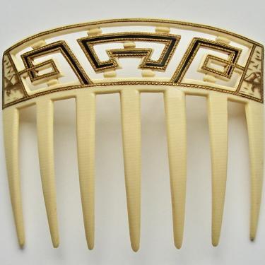 Oriental Geometric Art Deco Celluloid Hair Comb, Antique Greek-key Hair Comb, 1920s Comb, Vintage Comb, Hair Decoration by CombAgain