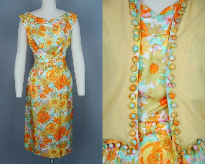 1960s Dress & Sweater Set | Vintage 60s Bright Floral Print Silk Cocktail Dress with Matching Sweater | medium by RelicVintageSF