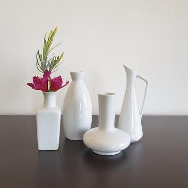 Vintage White Bud Vase Set of 4, Mixed Matched Shapes, Japanese Porcelain by CivilizedCrow