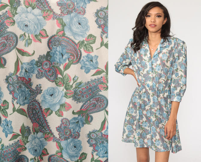 80s Paisley Dress Blue Psychedelic Print Mini Hippie Boho High Waist Long Puff Sleeve Vintage Shirtdress Minidress Button Up Medium Petite by ShopExile