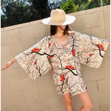 Cherry Blossom Kimono // vintage mini dress boho floral hippie blouse top shirt jacket robe tunic 60s 70s // O/S by FenixVintage