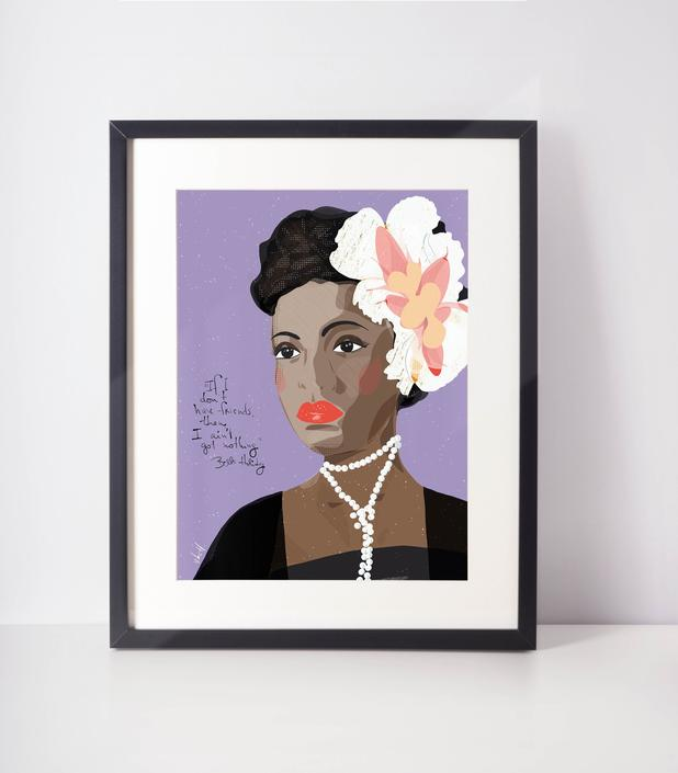 Billie Holiday - Music Lover - Iconic women -   Boss gifts - Cubicle Decor- Office Art- Cool Wall Art for Music Lovers by VioletredStudio