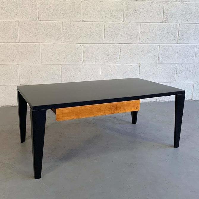 Mid Century Modern Lacquered Maple Coffee Table With Drawer