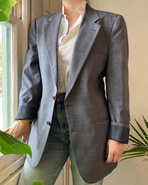 80s Burberry Menswear Blazer