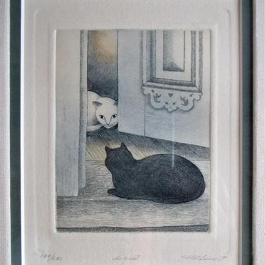 "P. St Laurent Etching, Cats  ""Le guet"" by ArtloversFinds"