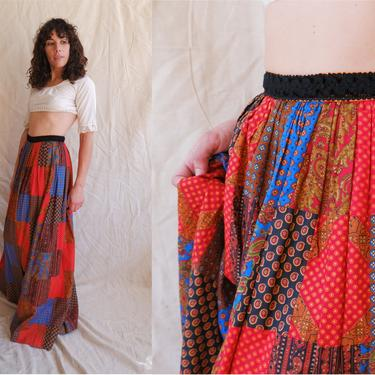 Vintage 70s Patchwork Maxi Skirt/ 1970s Quilted High Waisted Full Skirt/ Prairie Skirt/ Size XS 25 by bottleofbread