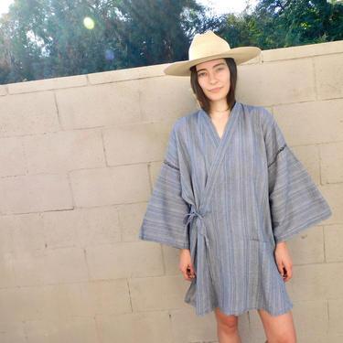 Wrap Kimono // vintage dress boho hippie jacket blouse tunic grey blue hippy cotton // O/S by FenixVintage