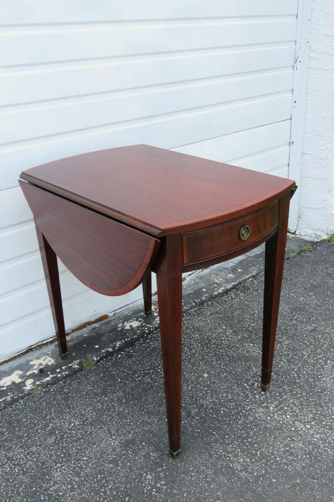 Mahogany Drop Leaf Folding Card Game Small Dinette Table by Johnson 1481
