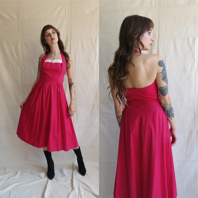 Vintage 50s Fuchsia Cotton Halter Dress/ 1950s Pink and White Square Neck Circle Skirt Dress/ Size XS 25 by bottleofbread