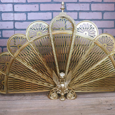 Brass Hollywood Regency Ornate Peacock Fireplace Fan Collapsible Screen by RedsRustyRelics