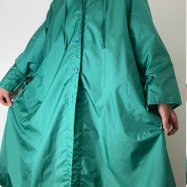 vintage emerald green totes hooded rain jacket size xl by miragevintageseattle