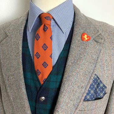 Vintage 100% Wool TWEED Wool Blazer ~ 42 R ~ sport coat / jacket ~ Chinstrap ~ Herringbone ~ Ivy League / Preppy / Trad by SparrowsAndWolves
