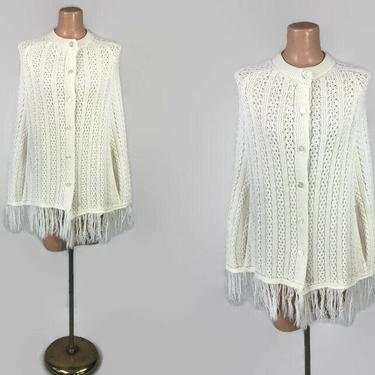 VINTAGE 60s 70s Cream Knit Fringed Pancho Jacket | 1960s 1970s Fringed Sweater Cape | Button Front BOHO Hippie Cardigan | OSFM by IntrigueU4Ever