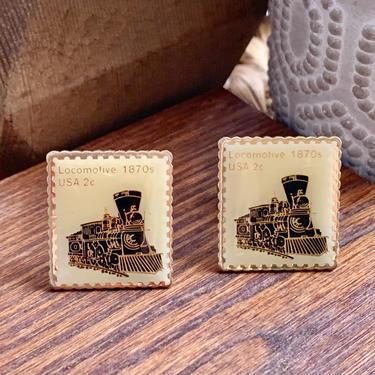 Vintage Locomotive Cufflinks, Trains, Enamel, Postage Stamp Cuff Links, 60s 70s by GabAboutVintage