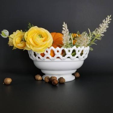 Vintage Milk Glass Bowl / Small White Fruit Bowl / Small Table Centerpiece / Dancing Sailor Edge Console Bowl / Vintage Holiday Home Decor by SoughtClothier