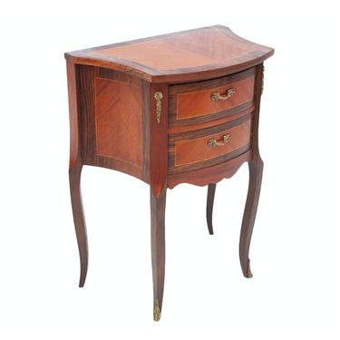 French Louis XV Style Bombe Rosewood Inlaid Ormolu Small Chest of Drawers Commode -  Vintage Bedside Nightstand Cabinet Side or End Table by LynxHollowAntiques